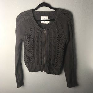 H&M zip up open knit sweater size M chunky weave